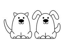 Μαύρο λογότυπο γατών και σκυλιών Στοκ φωτογραφία με δικαίωμα ελεύθερης χρήσης