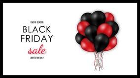 Μαύρο οριζόντιο έμβλημα πώλησης Παρασκευής διανυσματική απεικόνιση