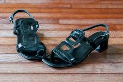 Μαύρο λουρί στο παπούτσι Στοκ Φωτογραφία