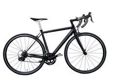 μαύρο οδικό ποδήλατο που απομονώνεται στο άσπρο υπόβαθρο που απομονώνεται Στοκ Εικόνες