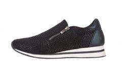 Μαύρο πάνινο παπούτσι με τα rhinestones Στοκ φωτογραφία με δικαίωμα ελεύθερης χρήσης