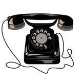 Μαύρο παλαιό αναδρομικό τηλέφωνο με το δίσκο και το καλώδιο πινάκων απεικόνιση αποθεμάτων