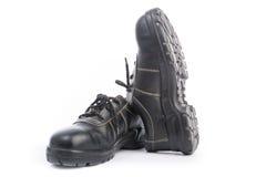 Μαύρο παπούτσι ασφάλειας που απομονώνεται Στοκ Φωτογραφία
