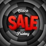 Μαύρο Παρασκευής έμβλημα προώθησης πώλησης διανυσματικό πέρα από ένα τετμημένο σπειροειδές υπόβαθρο Στοκ φωτογραφία με δικαίωμα ελεύθερης χρήσης