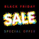 Μαύρο Παρασκευής ζωηρόχρωμο έμβλημα προσφοράς πώλησης ειδικό Στοκ Εικόνες