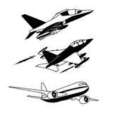 Μαύρο περίγραμμα αεροπλάνων Στοκ Εικόνες