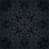 Μαύρο περίκομψο Floral διακοσμητικό εκλεκτής ποιότητας υπόβαθρο λουλουδιών διανυσματική απεικόνιση