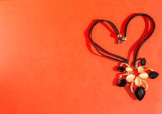 Μαύρο περιδέραιο στο κόκκινο Στοκ Εικόνες