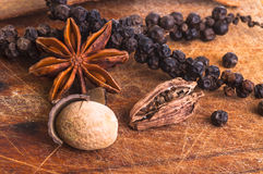 Μαύρο πιπέρι με τα anis αστεριών, το μοσχοκάρυδο και το λοβό καρδάμωμων Στοκ εικόνα με δικαίωμα ελεύθερης χρήσης