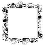 Μαύρο πλαίσιο διακοσμήσεων λουλουδιών και φύλλων anemone watercolor σχεδίων χεριών Στοκ φωτογραφίες με δικαίωμα ελεύθερης χρήσης