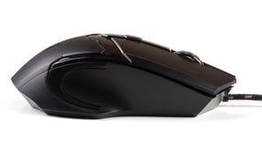 Μαύρο ποντίκι υπολογιστών που απομονώνεται στο άσπρο υπόβαθρο Στοκ φωτογραφία με δικαίωμα ελεύθερης χρήσης