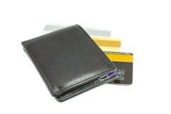 Μαύρο πορτοφόλι και πιστωτικές κάρτες Στοκ Εικόνα