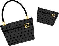 μαύρο πορτοφόλι τσαντών ελεύθερη απεικόνιση δικαιώματος