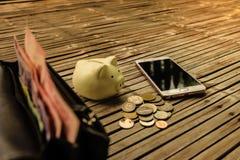 Μαύρο πορτοφόλι δέρματος για τους πλουσίους Στοκ φωτογραφία με δικαίωμα ελεύθερης χρήσης