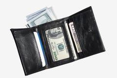 Μαύρο πορτοφόλι δέρματος με τα τραπεζογραμμάτια Στοκ εικόνα με δικαίωμα ελεύθερης χρήσης