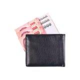 μαύρο πορτοφόλι δέρματος με το λογαριασμό της Ταϊλάνδης που απομονώνεται στο λευκό Στοκ Φωτογραφίες