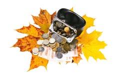 Μαύρο πορτοφόλι με τα ρωσικά φύλλα χρημάτων και φθινοπώρου Στοκ φωτογραφία με δικαίωμα ελεύθερης χρήσης