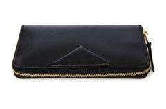 Μαύρο πορτοφόλι που απομονώνεται στο λευκό στοκ φωτογραφία