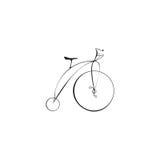 Μαύρο ποδήλατο σε ένα άσπρο υπόβαθρο Στοκ Φωτογραφίες