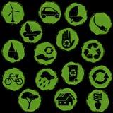 μαύρο πράσινο grunge eco κουμπιών Στοκ Φωτογραφία