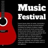 Μαύρο πρότυπο για το έμβλημα ή την αφίσα με την κιθάρα και θέση για τη διανυσματική απεικόνιση κειμένων ελεύθερη απεικόνιση δικαιώματος