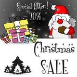 Μαύρο πρότυπο πώλησης Άγιου Βασίλη Χριστουγέννων Στοκ φωτογραφία με δικαίωμα ελεύθερης χρήσης