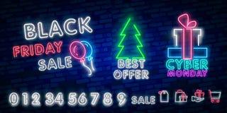Μαύρο σημάδι νέου πώλησης Παρασκευής, έμβλημα νέου, φυλλάδιο υποβάθρου Καμμένος σημάδι νέου, φωτεινή διαφήμιση πυράκτωσης, εκπτώσ στοκ εικόνες με δικαίωμα ελεύθερης χρήσης