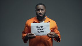 Μαύρο σημάδι των ανθρώπινων δικαιωμάτων σεβασμού εκμετάλλευσης ανδρών φυλακισμένων στο κύτταρο, σεξουαλική παρενόχληση απόθεμα βίντεο