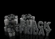 Μαύρο σημάδι πώλησης Παρασκευής με τα κιβώτια δώρων τρισδιάστατη απεικόνιση διανυσματική απεικόνιση