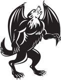 Μαύρο σκυλί λύκων Kludde με τα φτερά ροπάλων Στοκ φωτογραφία με δικαίωμα ελεύθερης χρήσης