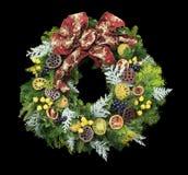 μαύρο στεφάνι Χριστουγένν&om Στοκ Φωτογραφία