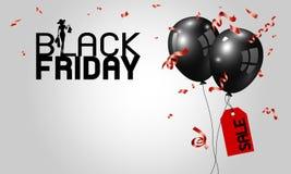 Μαύρο σχέδιο εμβλημάτων Παρασκευής των μπαλονιών με την κόκκινες ετικέττα και την κορδέλλα απεικόνιση αποθεμάτων