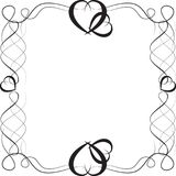 Μαύρο σχέδιο, πλαίσιο με τις καρδιές Στοκ εικόνα με δικαίωμα ελεύθερης χρήσης