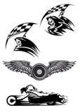 Μαύρο σχέδιο μασκότ μοτοκρός Στοκ Φωτογραφία
