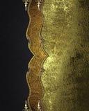 Μαύρο σχέδιο με το χρυσό σχέδιο στο μέταλλο grunge Στοιχείο για το σχέδιο Πρότυπο για το σχέδιο διάστημα αντιγράφων για το φυλλάδ Στοκ Εικόνες