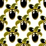 Μαύρο σχέδιο υποβάθρου ελιών άνευ ραφής Στοκ Εικόνες