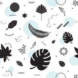 Μαύρο σχέδιο φύλλων σκιαγραφιών τροπικό στο άσπρο υπόβαθρο Στοκ εικόνα με δικαίωμα ελεύθερης χρήσης