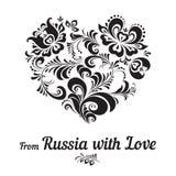 Μαύρο σχέδιο Khokhloma με μορφή μιας καρδιάς Στοκ Φωτογραφίες