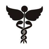 Μαύρο σύμβολο υγείας σκιαγραφιών με τα φίδια που περιπλέκεται Στοκ Εικόνα