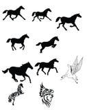 μαύρο σύνολο αλόγων Στοκ Εικόνες