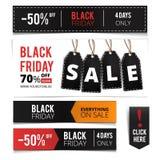 Μαύρο σύνολο εμβλημάτων πωλήσεων Παρασκευής Στοκ φωτογραφίες με δικαίωμα ελεύθερης χρήσης