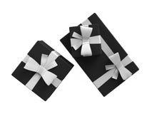 Μαύρο σύνολο κιβωτίων πακέτων δώρων Στοκ Εικόνες