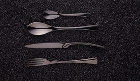 Μαύρο σύνολο μαχαιροπήρουνων Στοκ Φωτογραφία