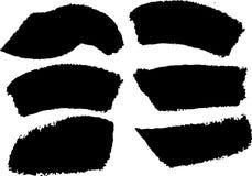 Μαύρο σύνολο μελανιού κτυπημάτων βουρτσών του χρώματος Στοκ Φωτογραφία