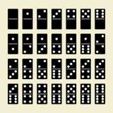 Μαύρο σύνολο ντόμινο, 28 κόκκαλα, Στοκ φωτογραφία με δικαίωμα ελεύθερης χρήσης