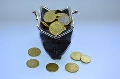 Μαύρο σύνολο πορτοφολιών των νομισμάτων Στοκ εικόνες με δικαίωμα ελεύθερης χρήσης