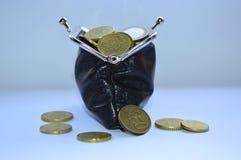 Μαύρο σύνολο πορτοφολιών των νομισμάτων Στοκ Εικόνες