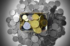 Μαύρο σύνολο πορτοφολιών των νομισμάτων Στοκ φωτογραφία με δικαίωμα ελεύθερης χρήσης