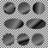 Μαύρο σύνολο αυτοκόλλητων ετικεττών ετικετών φύλλων αλουμινίου διανυσματικό Στοκ Εικόνες