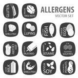 Μαύρο σύνολο αλλεργιογόνων Στοκ εικόνες με δικαίωμα ελεύθερης χρήσης